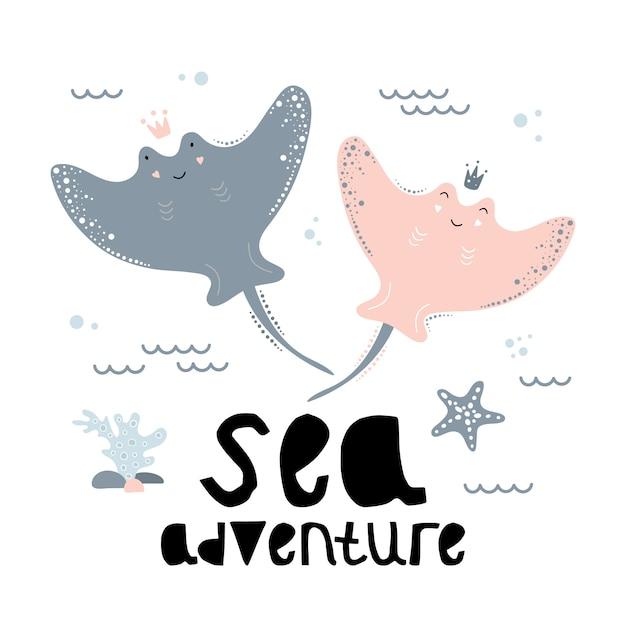 かわいいアカエイ、海の冒険。 Premiumベクター