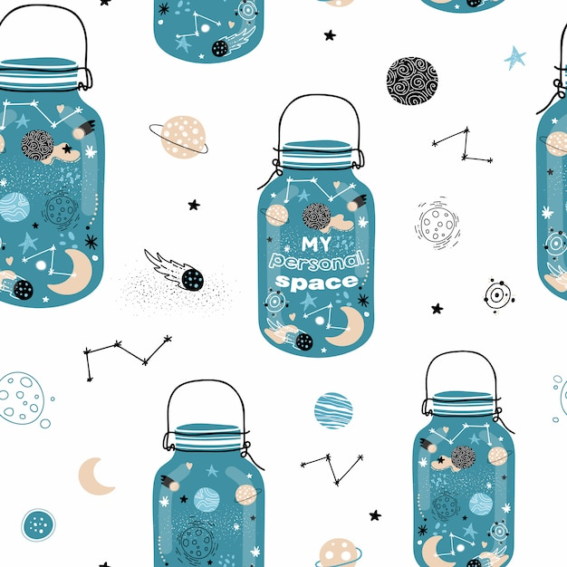 スペースの瓶とかわいいのシームレスパターン。 Premiumベクター