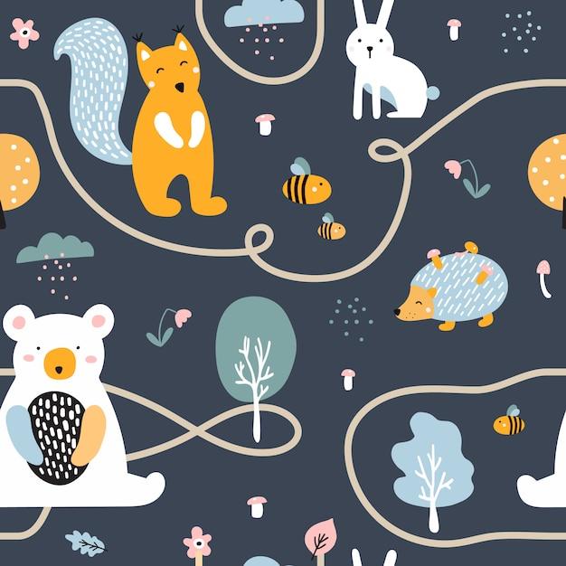 かわいいクマ、ハリネズミ、リス、ウサギとのシームレスなパターン。 Premiumベクター