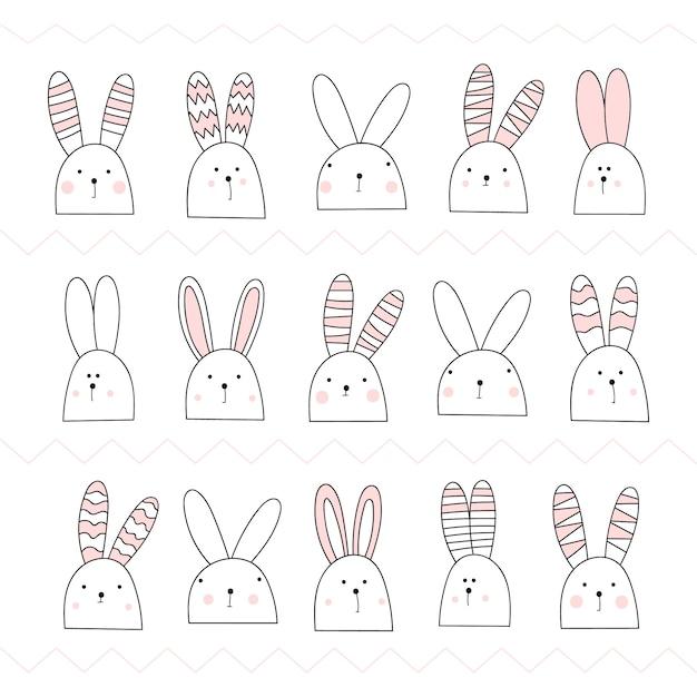 かわいい白い野ウサギのセットです。うさぎピンク。 Premiumベクター