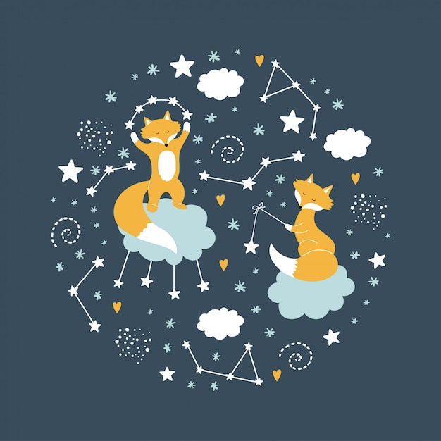 星と雲の中のキツネ Premiumベクター