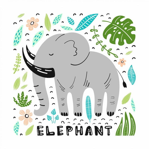 Милый слон с рисованной иллюстрации Premium векторы