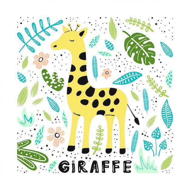 Симпатичные жираф с рисованной иллюстрации Premium векторы