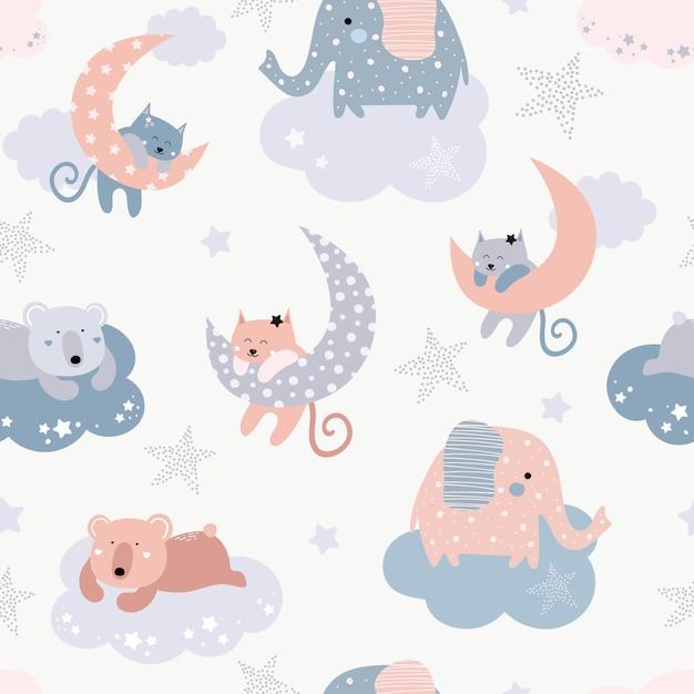 猫、象、クマとかわいいのシームレスパターン Premiumベクター