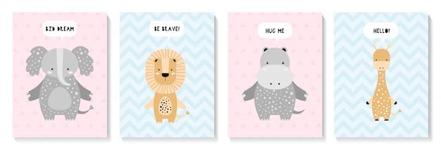 象、ライオン、キリン、カバとかわいいカードのセット Premiumベクター