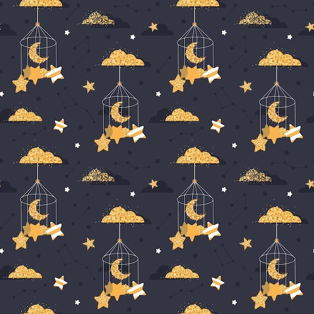 Симпатичные бесшовные ночь с звездами, луна Premium векторы