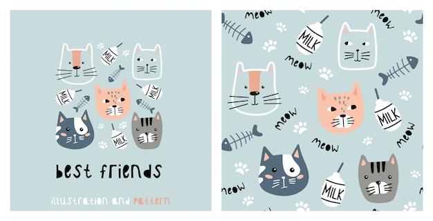Иллюстрация и бесшовные модели с милый кот. Premium векторы