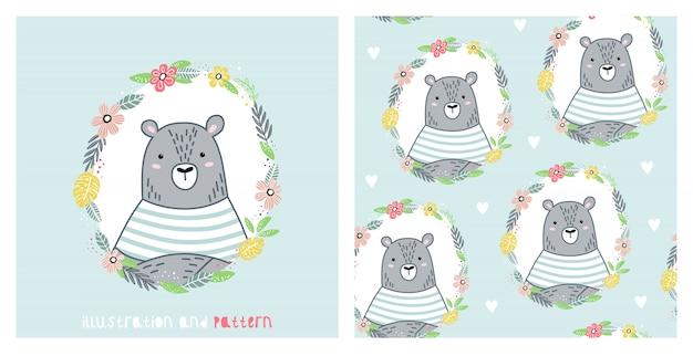 Иллюстрация и бесшовный узор с милым медведем Premium векторы