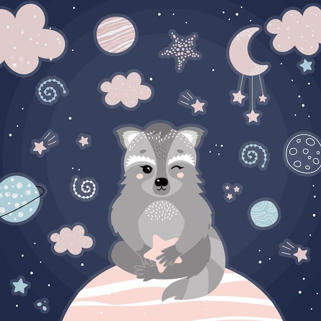 夜の空間でかわいいアライグマ Premiumベクター