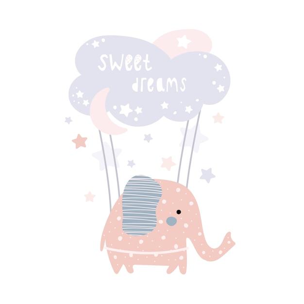 かわいいピンクの象が雲の上を飛んでいます。 Premiumベクター