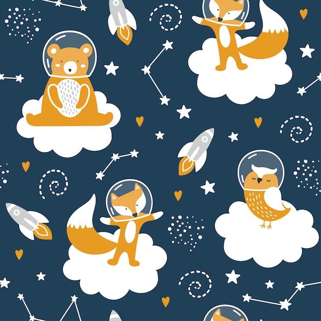 かわいいクマ、キツネ、フクロウ、星とのシームレスなパターン Premiumベクター