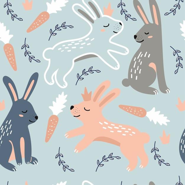 Бесшовный детский рисунок с кроликами Premium векторы