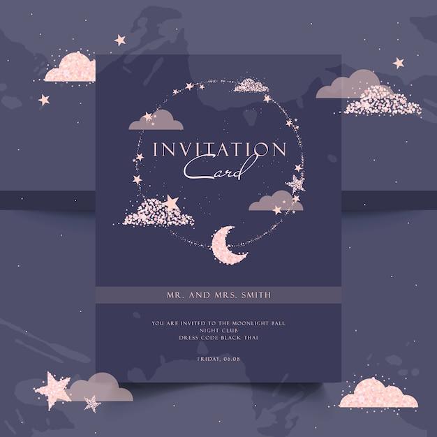 エレガントなパーティの招待状。ローズゴールド、夜、輝き。 Premiumベクター
