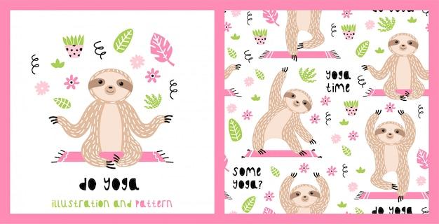 Иллюстрация и бесшовные модели с милыми ленивцами Premium векторы