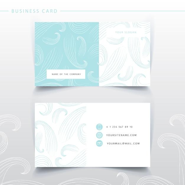 Нежный синий шаблон визитной карточки. имитация волн Premium векторы
