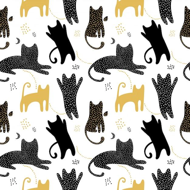 Симпатичные бесшовные модели с тенями кошек. Premium векторы