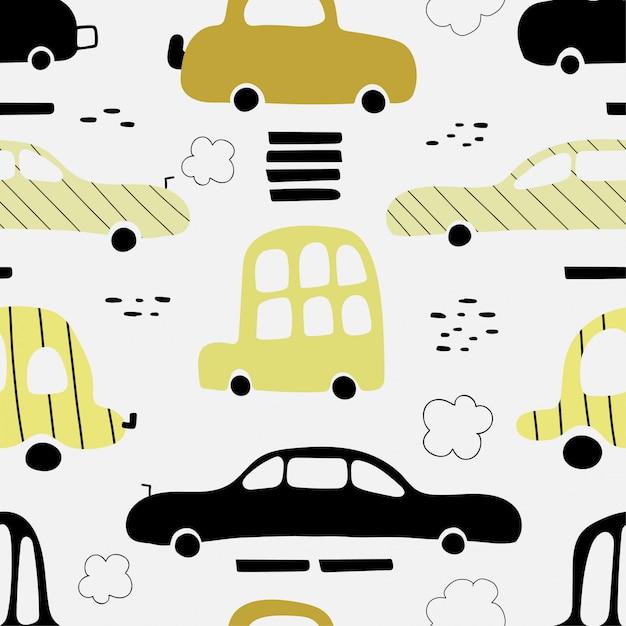 かわいい黄色の車とのシームレスなパターン。 Premiumベクター