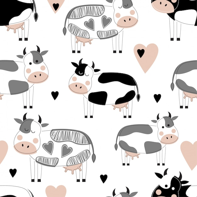 Безшовная картина с милыми различными коровами. Premium векторы