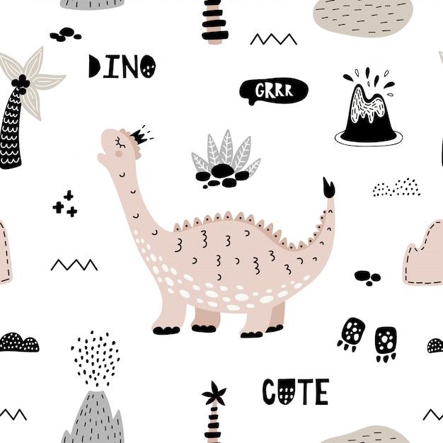 Симпатичные бесшовные модели с розовым динозавром. Premium векторы