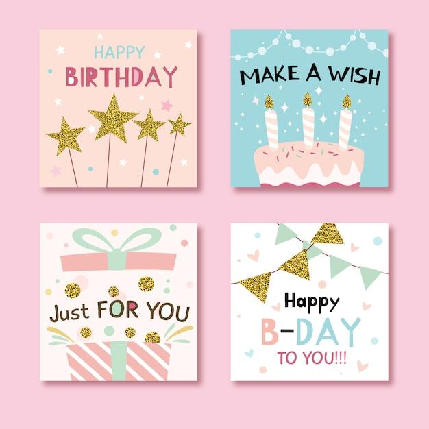 Набор поздравительных открыток с красочными элементами вечеринки Premium векторы