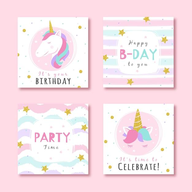 キラキラパーティーの要素を持つ誕生日カードのセット Premiumベクター