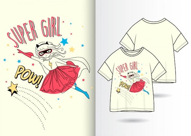 Нарисованная рукой милая девушка с футболкой Premium векторы