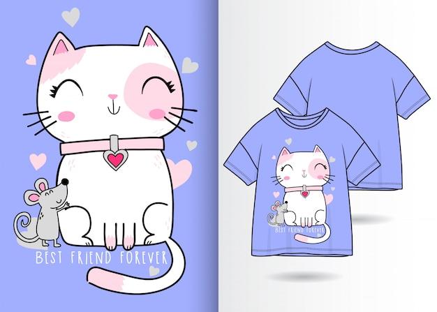 手描きのかわいい猫とマウス Premiumベクター