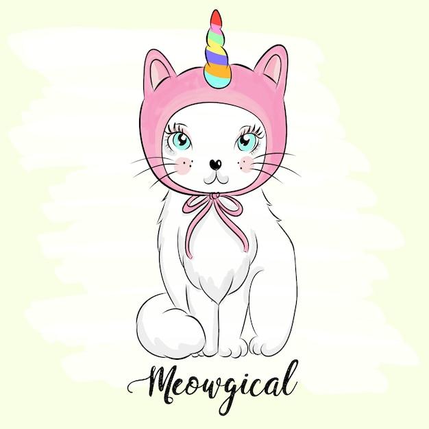 手描きのかわいい子猫のイラスト Premiumベクター