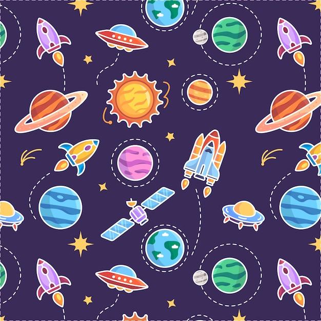 惑星パターンの背景 Premiumベクター