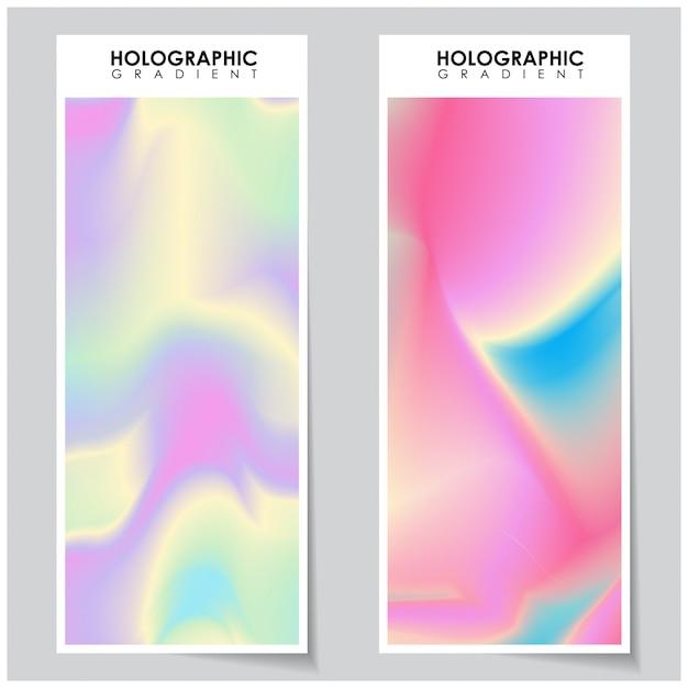 ホログラフィックグラデーションの背景 Premiumベクター