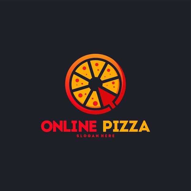 オンラインピザのロゴ Premiumベクター