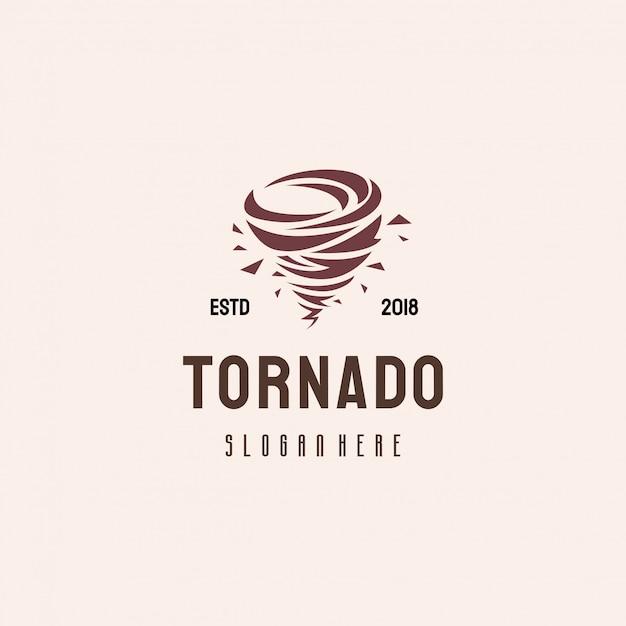 竜巻のロゴデザイン、台風のロゴのテンプレートのコンセプト Premiumベクター