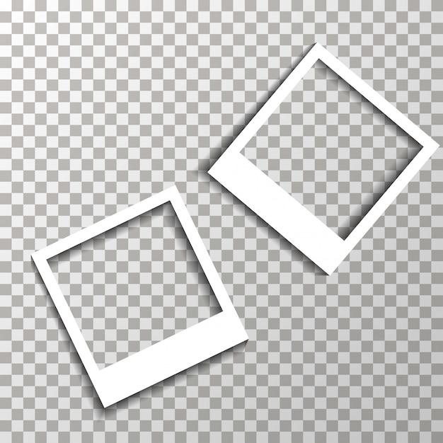透明な背景にフォトフレームベクトル。 Premiumベクター