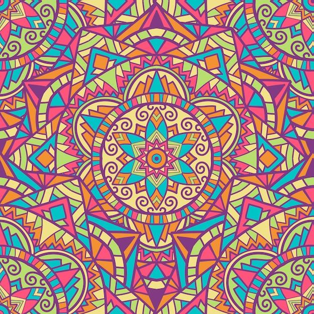 印刷用マンダラシームレスパターンデザイン。部族の飾り。 Premiumベクター