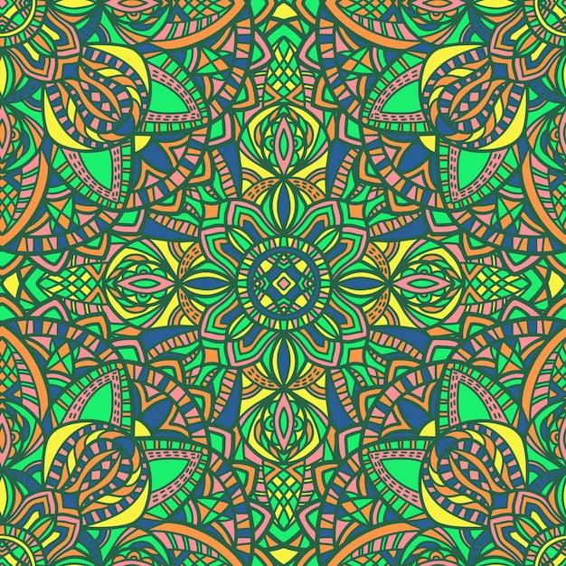 マンダラベクトルのシームレスなパターン背景。部族の飾り。 Premiumベクター