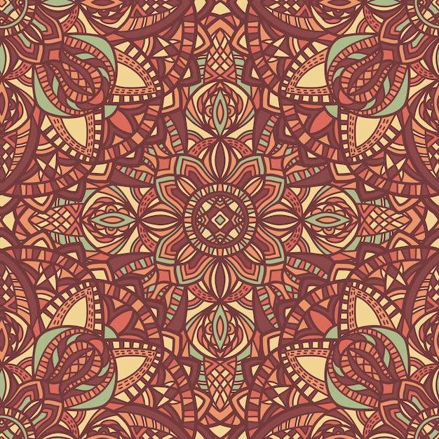 マンダラベクターのシームレスなパターン。部族の飾り。 Premiumベクター