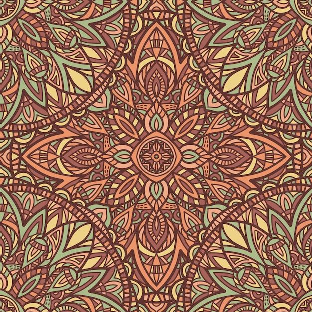 マンダラのシームレスなパターン背景。部族の飾り。 Premiumベクター