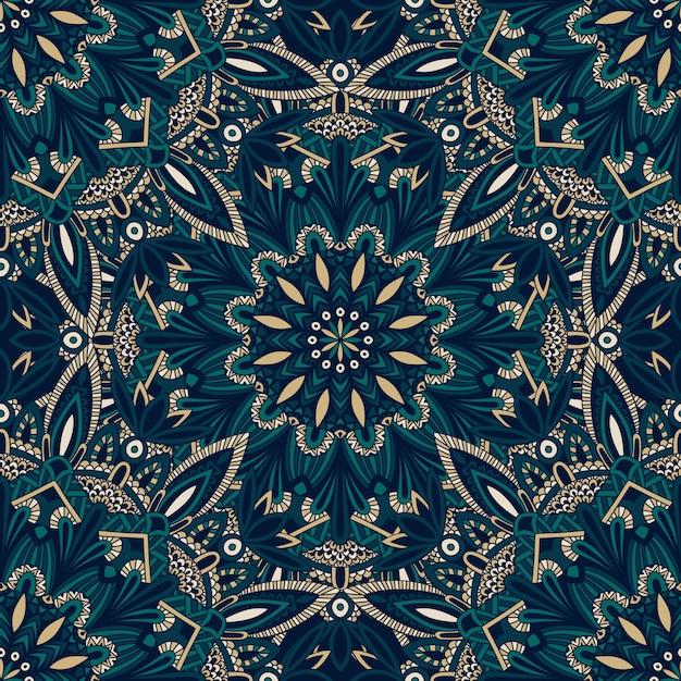 布や紙に印刷するためのシームレスな部族のマンダラパターン。 Premiumベクター