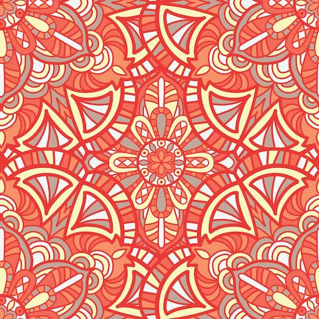 印刷用のマンダラベクトルデザイン。部族の飾り。 Premiumベクター
