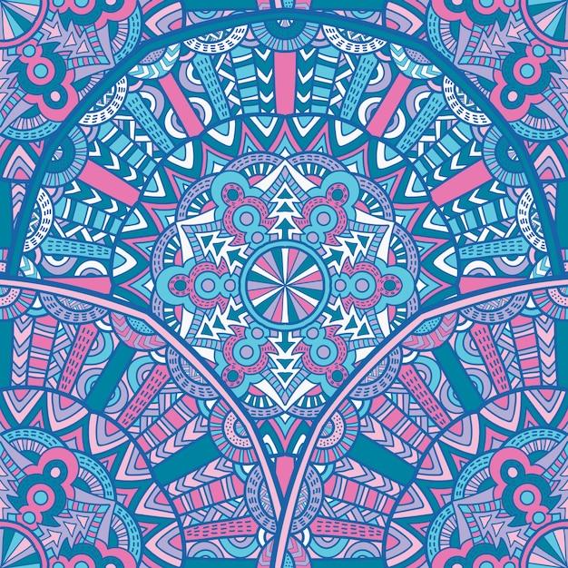 印刷のためのシームレスなパターンマンダラベクトルデザイン。部族の飾り。 Premiumベクター