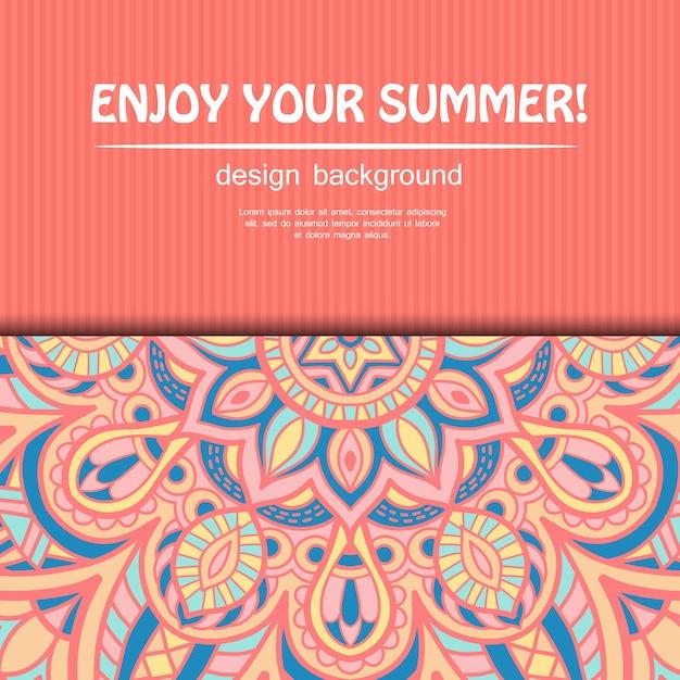 夏のマンダラデザイン。民族的背景 Premiumベクター