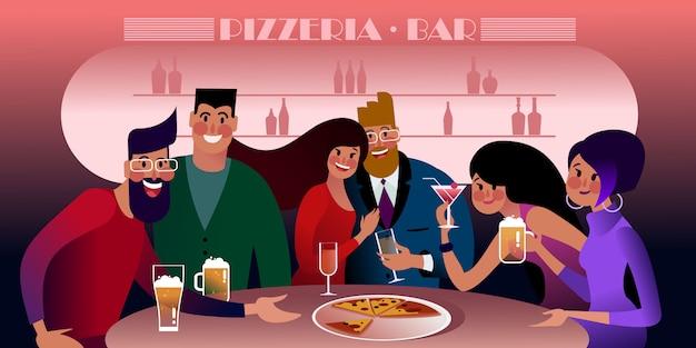 Встреча миллениалов в пиццерии. плоская иллюстрация. Premium векторы