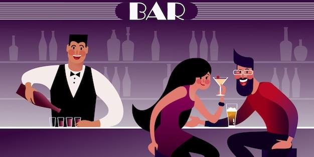 Пара миллениалов на свидании в ночном клубе и бармен в баре наливает. плоская иллюстрация. Premium векторы