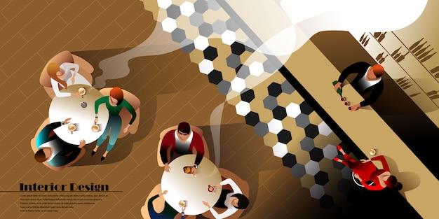 Современный бар дизайн интерьера вид сверху. векторный макет для макета целевой страницы Premium векторы
