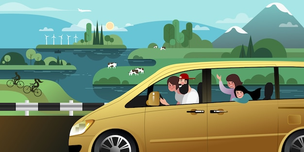 若い家族全員が町の外のミニバンで夏休み旅行に行きます。 Premiumベクター