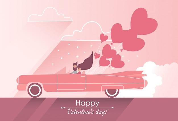 ハート形の風船でピンクの車に恋にかわいいカップル Premiumベクター