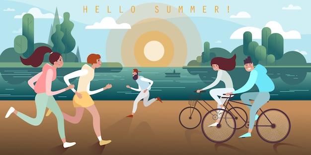 暖かい夏の夜の夕暮れ時の遊歩道に沿ってジョギングやサイクリングの若い人々 Premiumベクター