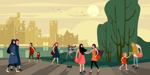 夜の夏の都市岸壁を歩く若い都市部の人々のグループ Premiumベクター