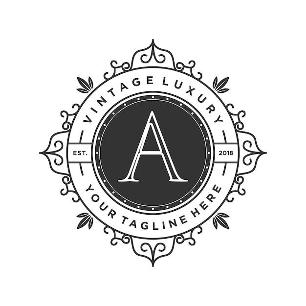 Старинный роскошный логотип для свадьбы Premium векторы