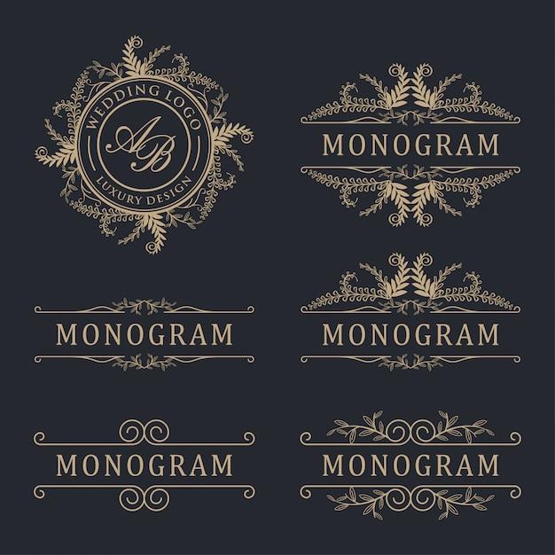 Роскошный логотип свадьбы Premium векторы